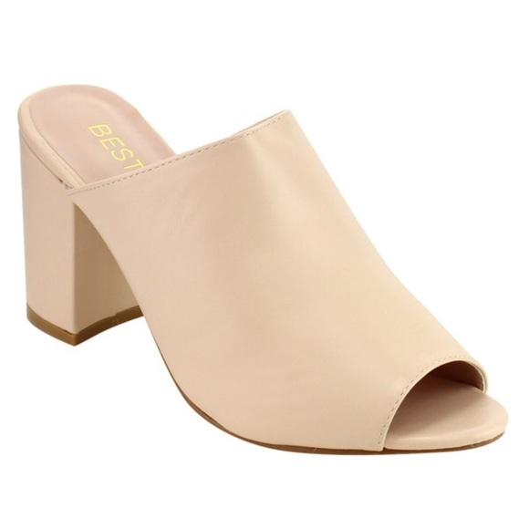 Shoes - Vegan leather nude mule sandals